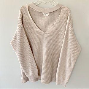 Cream Vestique Keyhole Sweater, Medium